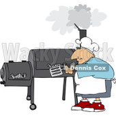 Royalty-Free (RF) Clipart Illustration of a Caucasian Man Cooking On A BBQ Smoker © Dennis Cox #209890