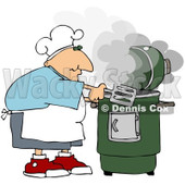 Royalty-Free (RF) Clipart Illustration of a Caucasian Man Cooking With A Green Smoker © Dennis Cox #209891