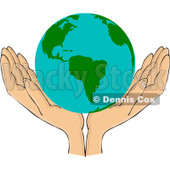 Royalty-Free (RF) Clipart Illustration of a Pair Of Open Hands With An American Globe © Dennis Cox #209892