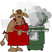Royalty-Free (RF) Clipart Illustration of a Bull Cooking With A Green Smoker © Dennis Cox #209893