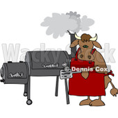 Royalty-Free (RF) Clipart Illustration of a Bull Cooking On A BBQ Smoker © Dennis Cox #209894