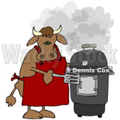 Royalty-Free (RF) Clipart Illustration of a Bull Cooking On A Black Smoker © Dennis Cox #209898