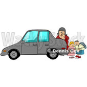 Royalty-Free (RF) Clipart Illustration of a Woman Checking Behind Her Car To Find Two Children © djart #210052
