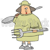 Clipart Illustration of a White Chef Woman In A Yellow Uniform And Chefs Hat, Carrying A Large Spoon And Fork In A Kitchen © djart #21142