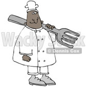 Clipart Illustration of a Black Chef Man In A White Uniform And Chefs Hat, Carrying A Large Fork Over His Shoulder © djart #21143