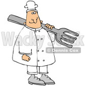 Clipart Illustration of a Happy White Chef Wearing A Hat, Carrying A Large Fork Over His Shoulder © djart #21144