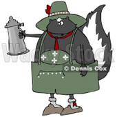 Clipart Illustration of a Drunken Oktoberfest Skunk In A Green Costume, Holding A Silver Beer Stein © Dennis Cox #21145