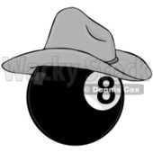 Royalty-Free (RF) Clipart Illustration of a Billiards Eight Ball Wearing A Cowboy Hat © djart #211657