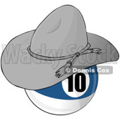 Royalty-Free (RF) Clipart Illustration of a Blue And White Ten Billiards Pool Ball Wearing A Cowboy Hat © djart #211662