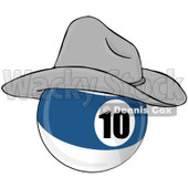 Royalty-Free (RF) Clipart Illustration of a Blue And White 10 Billiards Pool Ball Wearing A Cowboy Hat © djart #211663