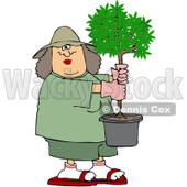 Royalty-Free (RF) Clipart Illustration of a Caucasian Woman Carrying A Small Potted Tree © Dennis Cox #212105
