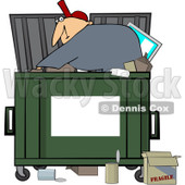 Royalty-Free (RF) Clipart Illustration of a Man Digging Inside A Dumpster, With A Blank Sign For Text Space On The Front © djart #212107
