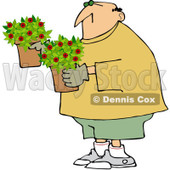 Royalty-Free (RF) Clipart Illustration of a Caucasian Man Carrying Miniature Rose Pots © Dennis Cox #212108