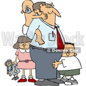 Royalty-Free (RF) Clipart Illustration of a Baby Grabbing Dad's Face From His Back And Two Other Children © Dennis Cox #212111