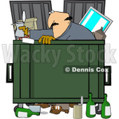 Royalty-Free (RF) Clipart Illustration of a Man Dumpster Diving For Goodies © djart #213013