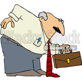 Royalty-Free (RF) Clipart Illustration of a Chubby Old Businessman Hurting His Back While Bending Over To Pick Up A Briefcase © djart #213014