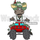 Royalty-Free (RF) Clipart Illustration of a Bull Moose Operating A Recreational ATV Four Wheeler © Dennis Cox #213015