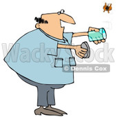Royalty-Free (RF) Clipart Illustration of a Chubby Man Releasing A Butterfly From A Jar © djart #213934