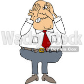 Royalty-Free (RF) Clipart Illustration of a Stressed Businessman Grabbing His Head © djart #213935