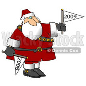 Clipart Illustration of Santa Claus Holding a Year 2011 Flag Down and a Year 2012 Flag Up For New Years © djart #21558