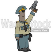 Clipart Illustration of an African American Police Officer Standing Tall And Pointing A Pistil Upwards While Shooting To Calm A Crowd © djart #21561