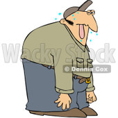 Royalty-Free (RF) Clipart Illustration of a Sweaty Man Hanging His Tongue Out © Dennis Cox #217235