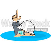 Royalty-Free (RF) Clipart Illustration of a Caucasian Worker Man In A Deep Puddle Of Water © djart #217238