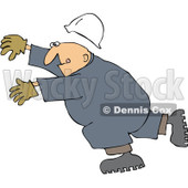 Royalty-Free (RF) Clipart Illustration of a Caucasian Worker Man Slipping And Falling Forward © djart #217240