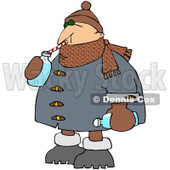 Royalty-Free (RF) Clipart Illustration of a Winter Man Drinking Water With A Straw From A Bottle © Dennis Cox #217242