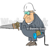 Royalty-Free (RF) Clipart Illustration of a Caucasian Worker Man Carrying A Saw And Drill © Dennis Cox #217243