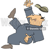 Royalty-Free (RF) Clipart Illustration of a Caucasian Worker Man Falling Backwards © Dennis Cox #217244