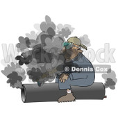 Royalty-Free (RF) Clipart Illustration of a Caucasian Worker Man Sitting On And Cutting A Pipe © Dennis Cox #217247
