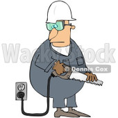 Royalty-Free (RF) Clipart Illustration of a Caucasian Worker Man Holding A Power Saw © Dennis Cox #217248