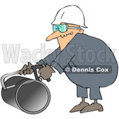 Royalty-Free (RF) Clipart Illustration of a Caucasian Worker Man Using A Hacksaw To Cut A Pipe © djart #217250