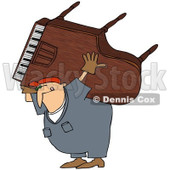 Royalty-Free (RF) Clipart Illustration of a Caucasian Worker Man Carrying A Piano On His Back © Dennis Cox #217251