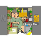Royalty-Free (RF) Clipart Illustration of a Chubby Woman Working In A Cluttered Cubicle © Dennis Cox #217252