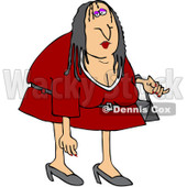Royalty-Free (RF) Clipart Illustration of a Scraggly Woman In A Red Dress © Dennis Cox #217253