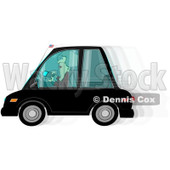 Royalty-Free (RF) Clipart Illustration of a Woman Text Messaging While Driving Her Car, © Dennis Cox #217254