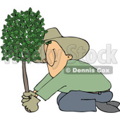 Royalty-Free (RF) Clipart Illustration of a Kneeling Man Planting A Tree © djart #217255