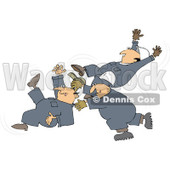Royalty-Free (RF) Clipart Illustration of Three Caucasian Worker Men Slipping And Falling © djart #217256