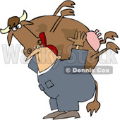Royalty-Free (RF) Clipart Illustration of a Farm Worker Carrying A Big Cow On His Back © Dennis Cox #218288