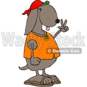 Royalty-Free (RF) Clipart Illustration of a Hippie Dog In A Red Cap And Orange Shirt, Gesturing Peace © Dennis Cox #218289