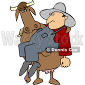 Royalty-Free (RF) Clipart Illustration of a Big Cow Carrying A Farm Worker In His Arms © Dennis Cox #219758