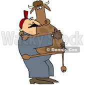 Royalty-Free (RF) Clipart Illustration of a Farm Worker Carrying A Cow In His Arms © Dennis Cox #219759