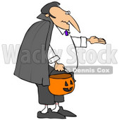 Clipart Illustration of Vampire Count Dracula In A Black Cape, Trick Or Treating With A Pumpkin Basket On Halloween © Dennis Cox #22005
