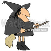Clipart Illustration of a Fat Female Witch With A Wart On Her Nose, Wearing Black And Holding A Broom Stick © Dennis Cox #22006