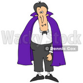 Clipart Illustration of a Male Vampire With Fangs, Standing And Wearing A Purple Cape Over A White Shirt And Black Pants © djart #22007