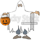 Clipart Illustration of a Halloween Trick Or Treater In A White Sheet Ghost Costume, Holding His Arms Out And Carrying A Pumpkin Basket © djart #22009