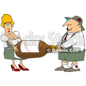 Clipart Illustration of a Blond Oktoberfest Woman Helping A Man Carry A Giant Bottle Of Beer © djart #22011