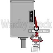 Clipart Illustration of a Red Folding Lockout Scissor Clamp With Two Padlocks On A Machine With A Danger Follow Lockout/tagout Procedures Tag For Energy Control And Safety © djart #22012